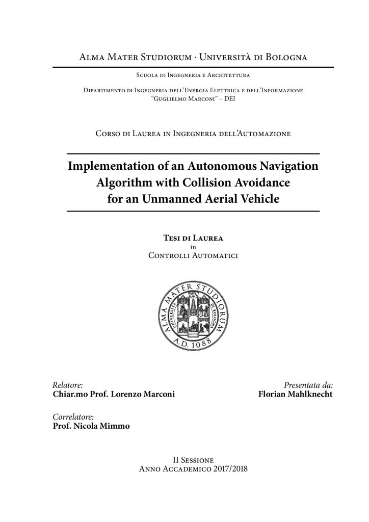thumbnail of FM – Implementation of an Autonomous Navigation Algorithm with Collision Avoidance for an UAV (2018)